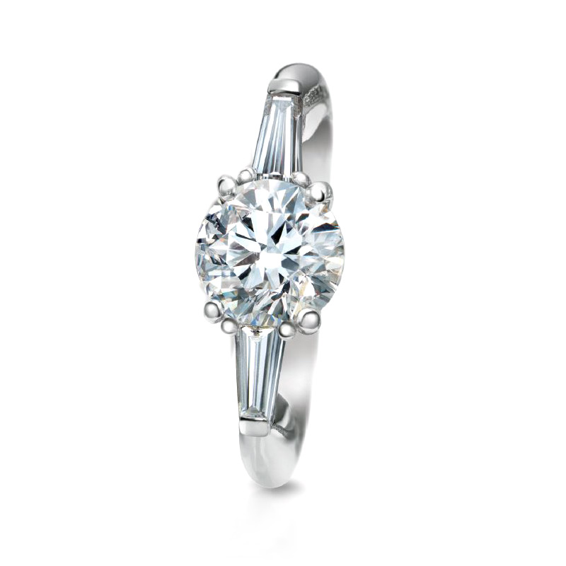 CLASSIC THREE DIAMOND RING WITH ROUND CENTER DIAMOND AND TAPERED BAGUETTE SIDE DIAMONDS, CRAFTED PLATINUM, 1.72 CTW