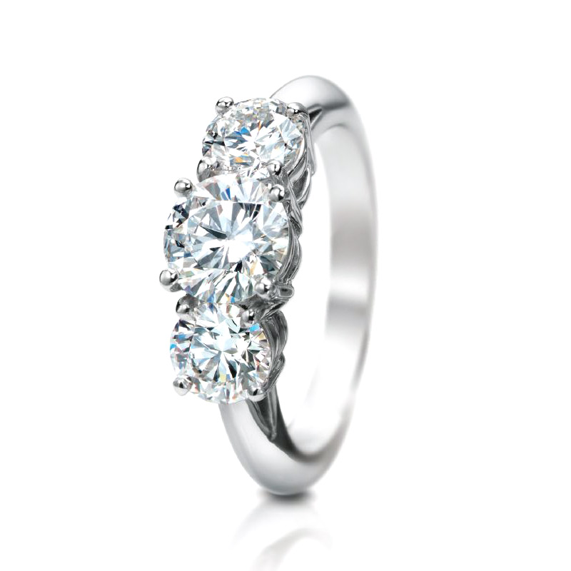 CLASSIC THREE DIAMOND RING WITH ROUND DIAMOND CENTER AND SIDES, CRAFTED IN PLATINUM, 3.07 CTW