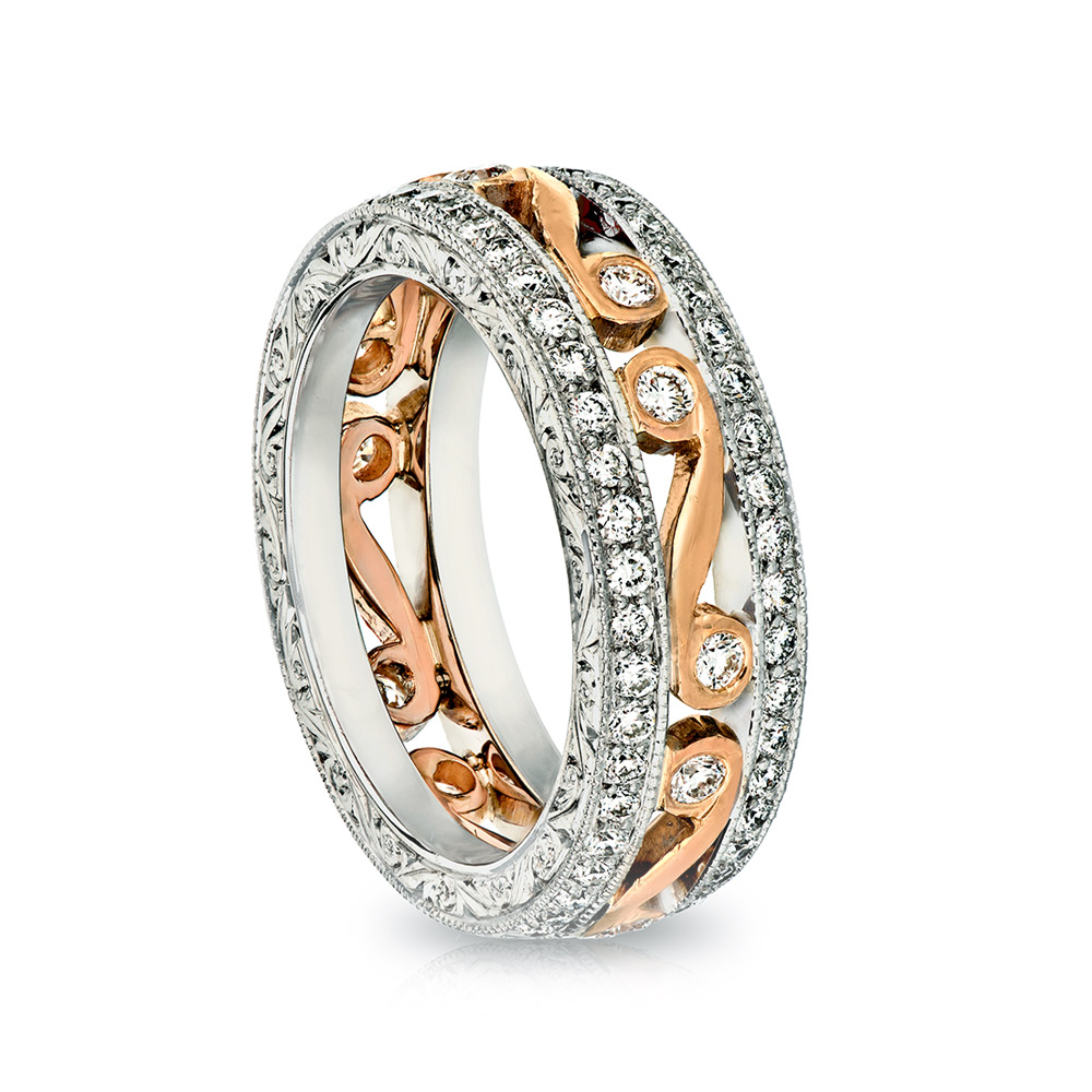HAND ENGRAVED WEDDING BAND CRAFTED IN 18K WHITE AND ROSE GOLD. 0.46 CTW