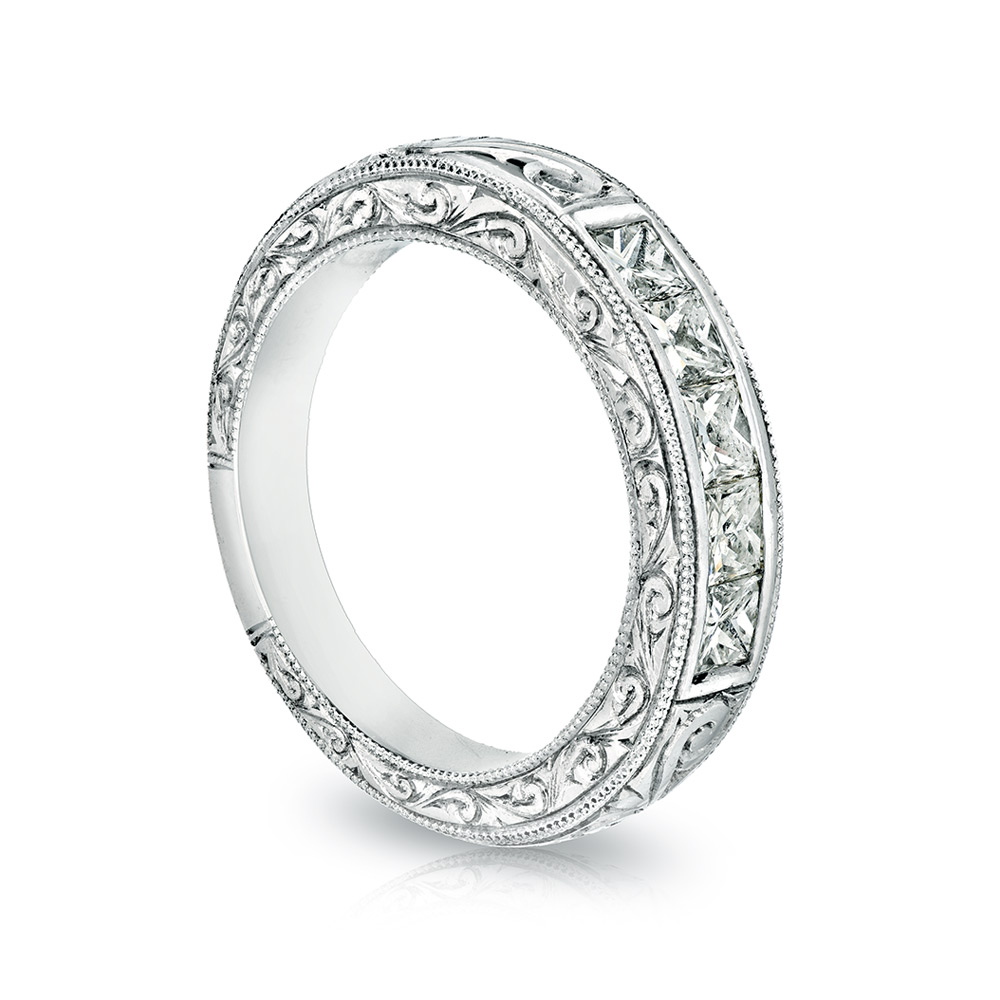 HAND ENGRAVED PRINCESS CUT DIAMOND BAND, CRAFTED IN PLATINUM, 1.63 CTW