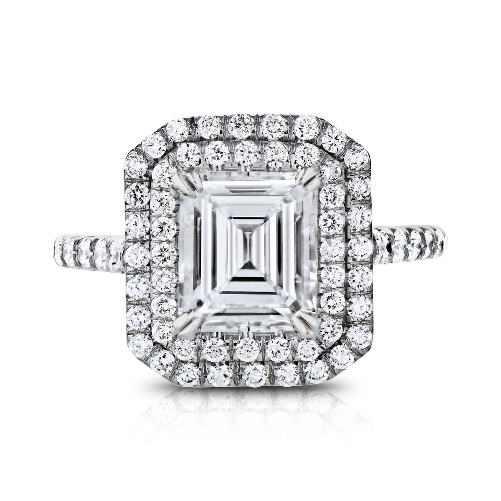 EMERALD CUT CENTER DIAMOND WITH DOUBLE HALO DIAMOND PAVE CRAFTED IN PLATINUM, 3.62 CTW