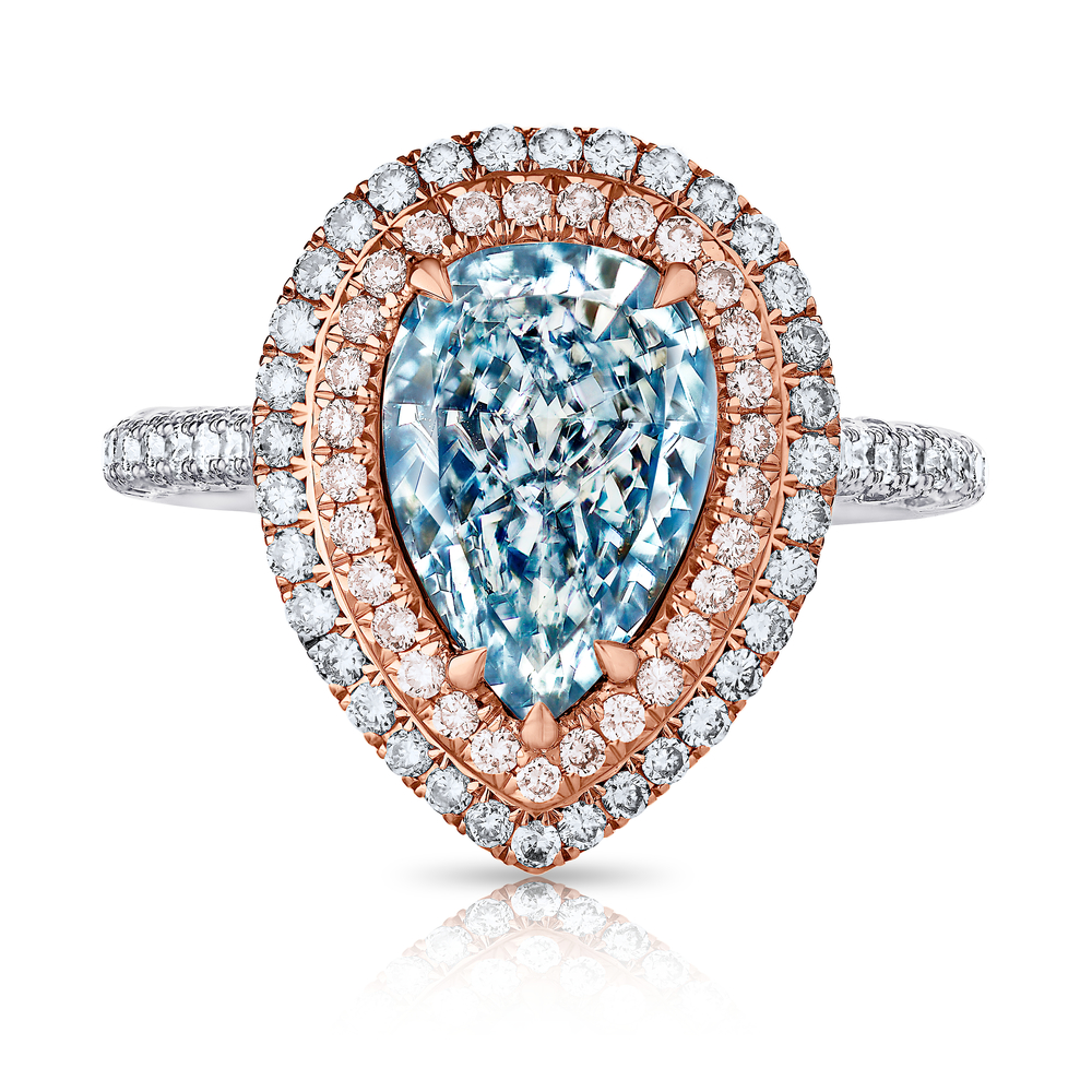 FANCY LIGHT BLUE PEAR SHAPE DIAMOND WITH COLORLESS AND PINK DIAMOND PAVE CRAFTED IN 18K ROSE GOLD AND PLATINUM, 3.18 CTW