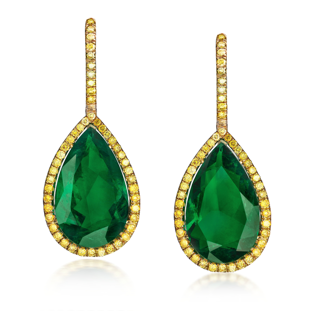 EMERALD PEAR SHAPE DROP EARRINGS WITH FANCY VIVID YELLOW ROUND DIAMONDS  CRAFTED IN 18K YELLOW GOLD, 24.17 CTW
