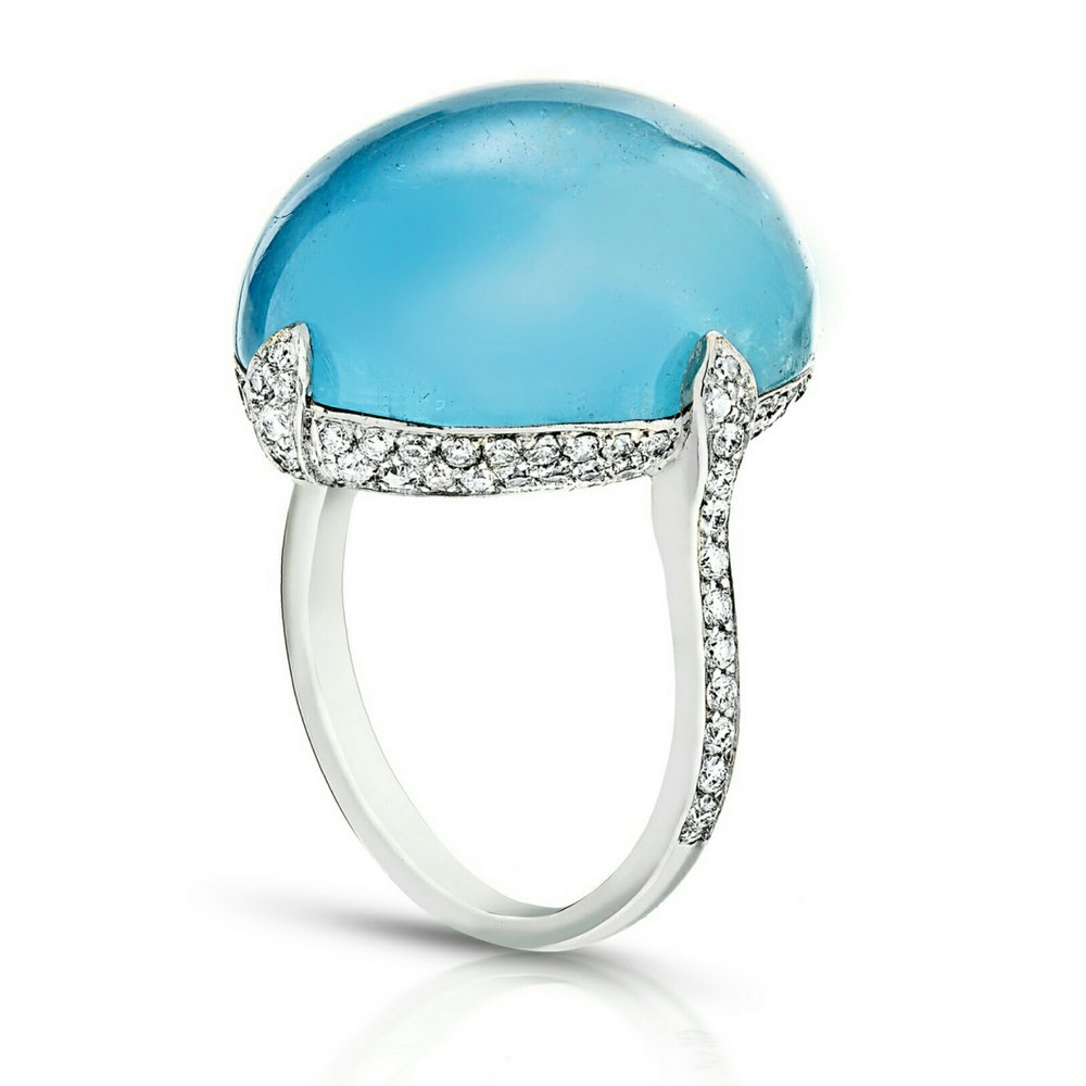 CABOCHON AQUAMARINE (SANTA MARIA MINE) WITH NEAR COLORLESS DIAMOND PAVE CRAFTED IN 18K WHITE GOLD, 24 CTW