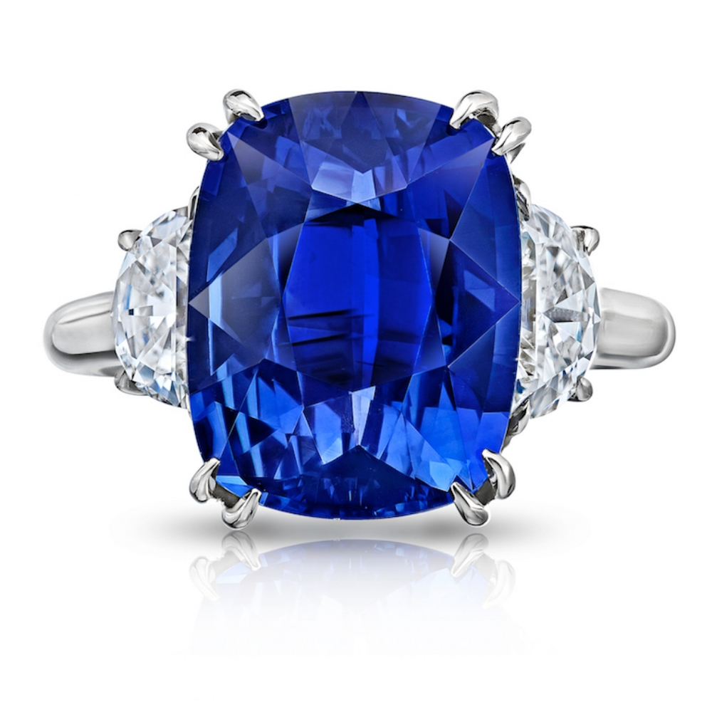 CEYLON SAPPHIRE CUSHION CUT RING WITH HALF MOON DIAMONDS CRAFTED IN PLATINUM, 9.30 CTW