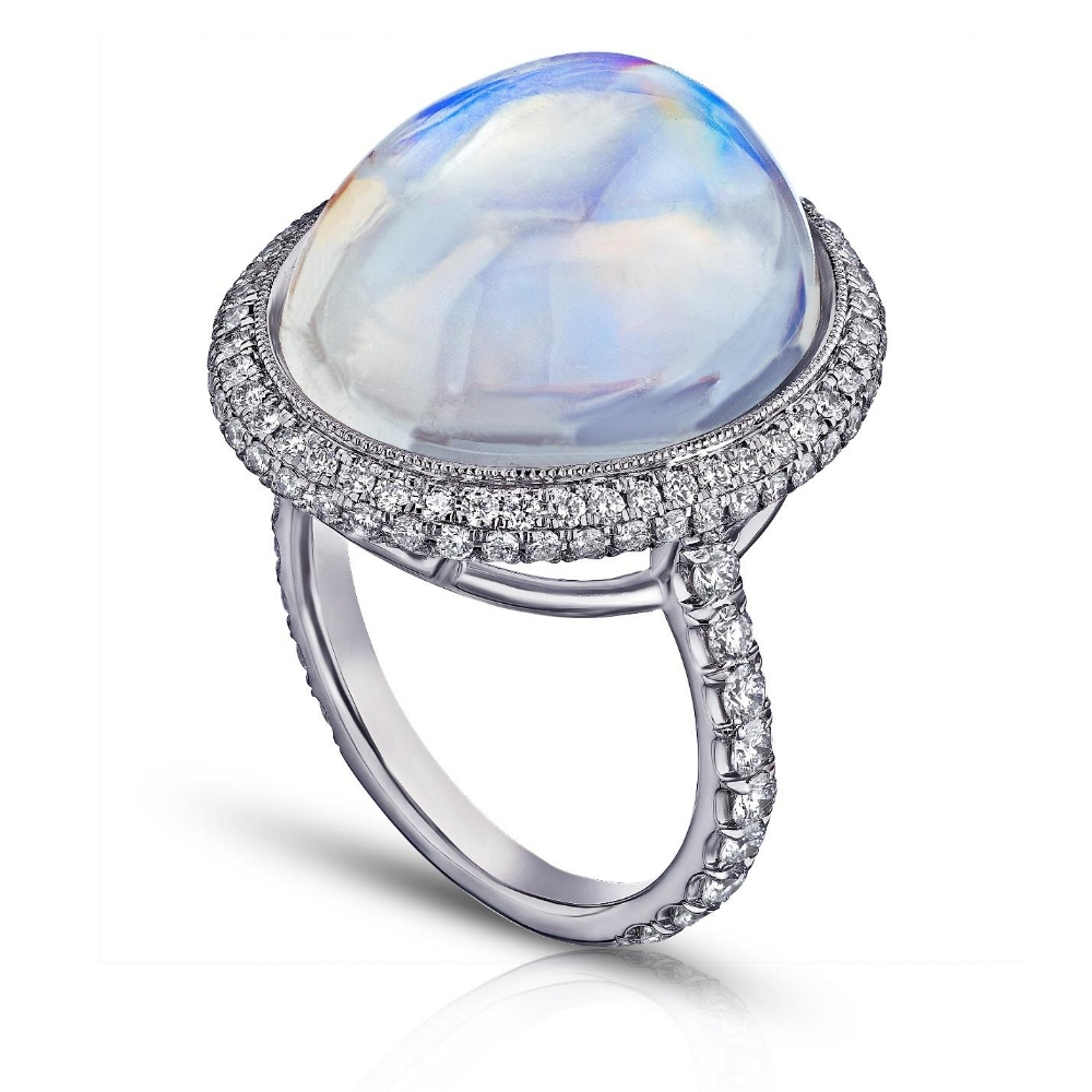 ROYAL BLUE LARGE OVAL MOONSTONE & DIAMOND MICRO PAVE RING CRAFTED IN PLATINUM, 22.03 CTW