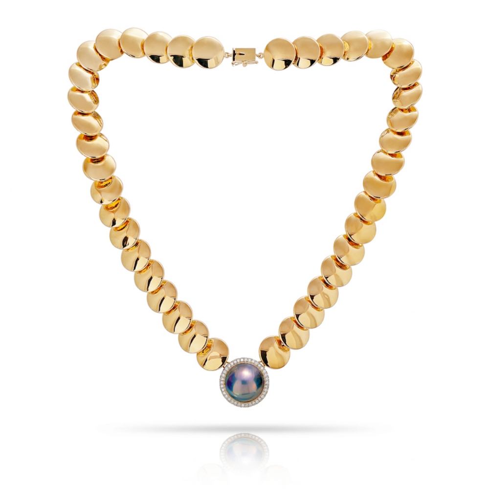 JAPANESE PEACOCK MABE PEARL & DIAMOND HALO GOLD COIN NECKLACE CRAFTED IN 18K YELLOW GOLD