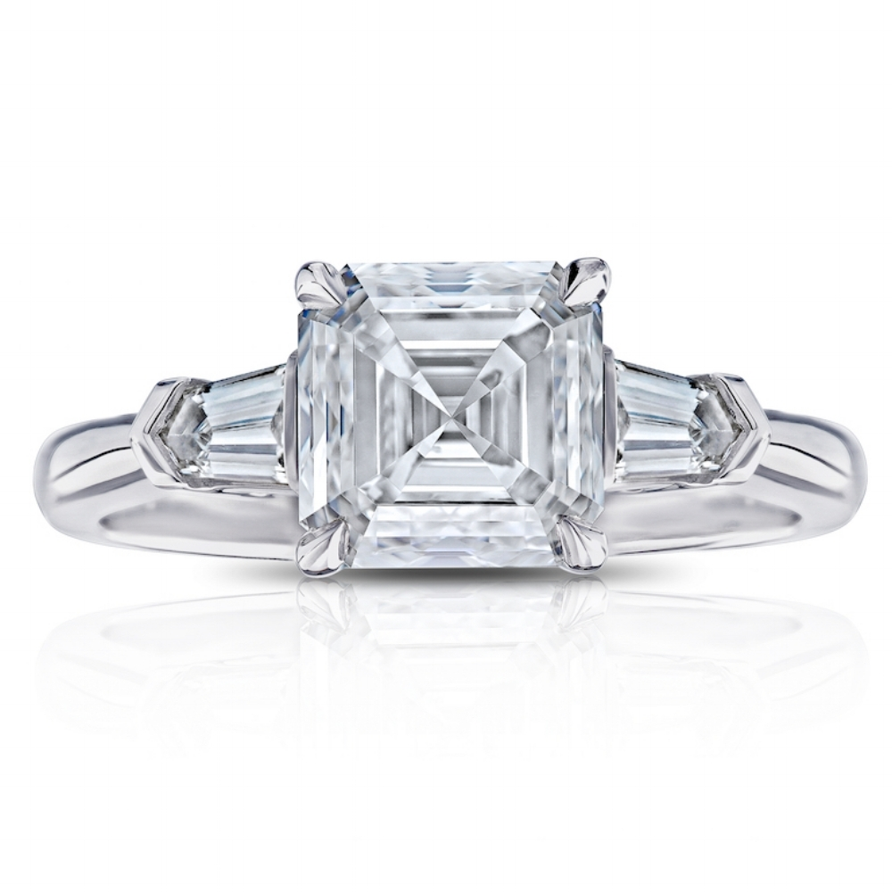 ASSCHER CUT CENTER DIAMOND WITH BULLET CUT SIDE DIAMONDS CRAFTED IN PLATINUM, 3.15 CTW
