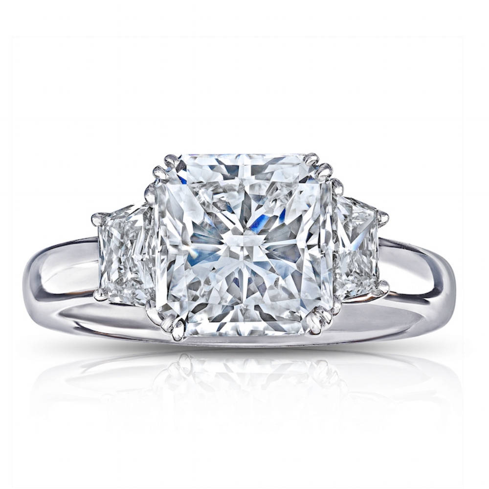 RADIANT CUT CENTER DIAMOND WITH BULLET CUT SIDE DIAMONDS CRAFTED IN PLATINUM, 3.51 CTW
