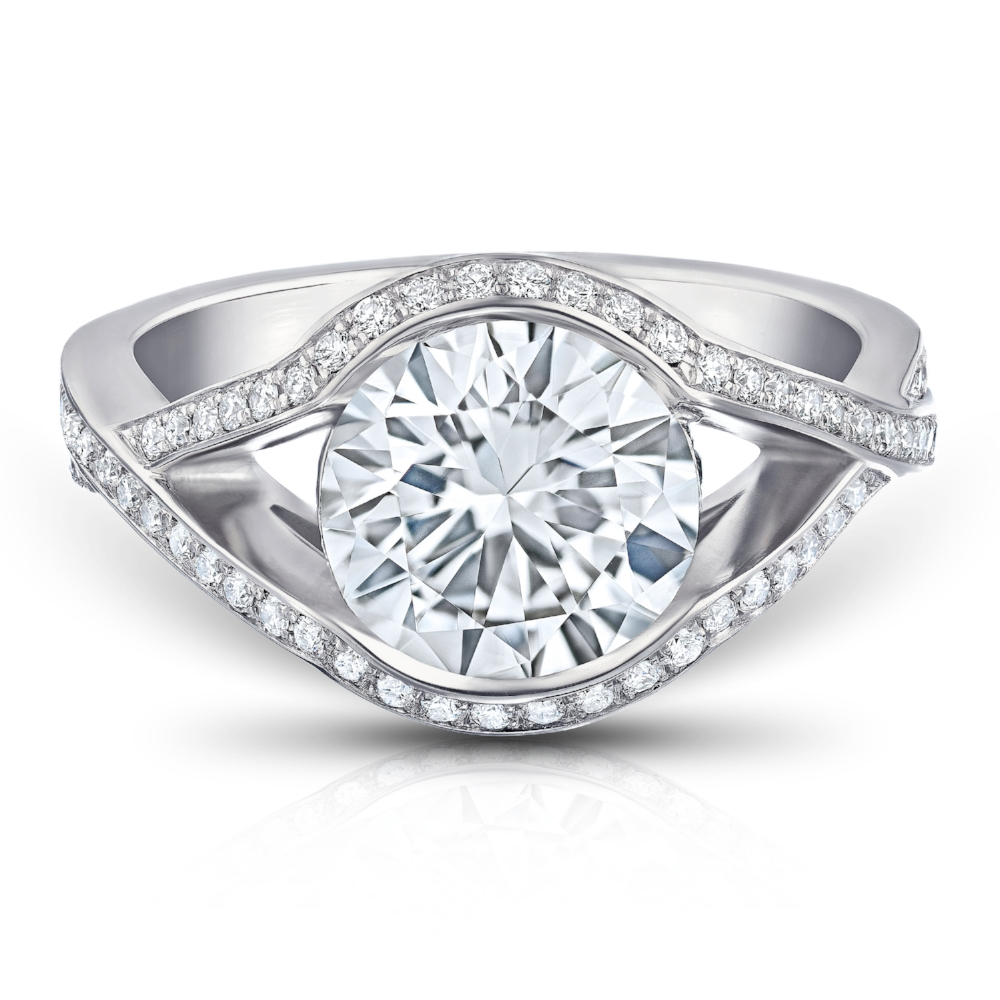 NOBLESSE RING WITH ROUND BRILLIANT CENTER DIAMOND AND DIAMOND PAVE SPLIT SHANK CRAFTED IN PLATINUM , 3.25 CTW, TOP VIEW
