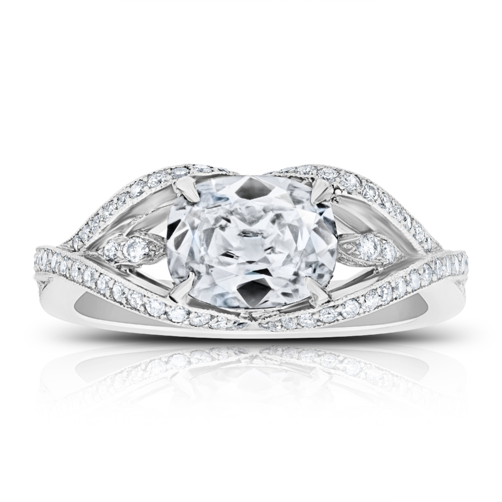 EAST MEETS WEST RING WITH OVAL CUT CENTER DIAMOND AND DIAMOND PAVE CRAFTED IN PLATINUM, 1.72 CTW, TOP VIEW