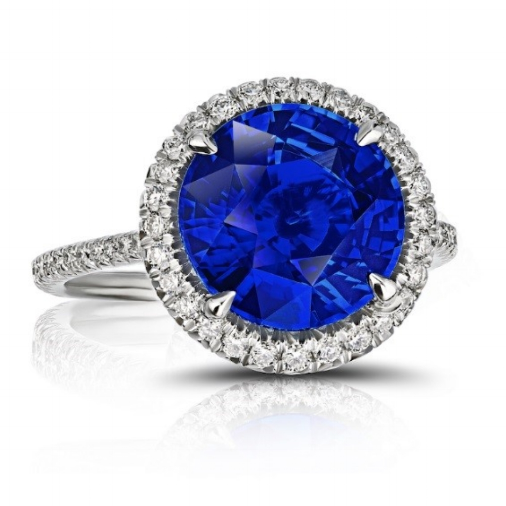 CEYLON SAPPHIRE ROUND CUT RING WITH DIAMOND HALO AND MICRO PAVE DIAMOND BAND CRAFTED IN PLATINUM, 5.99 CTW