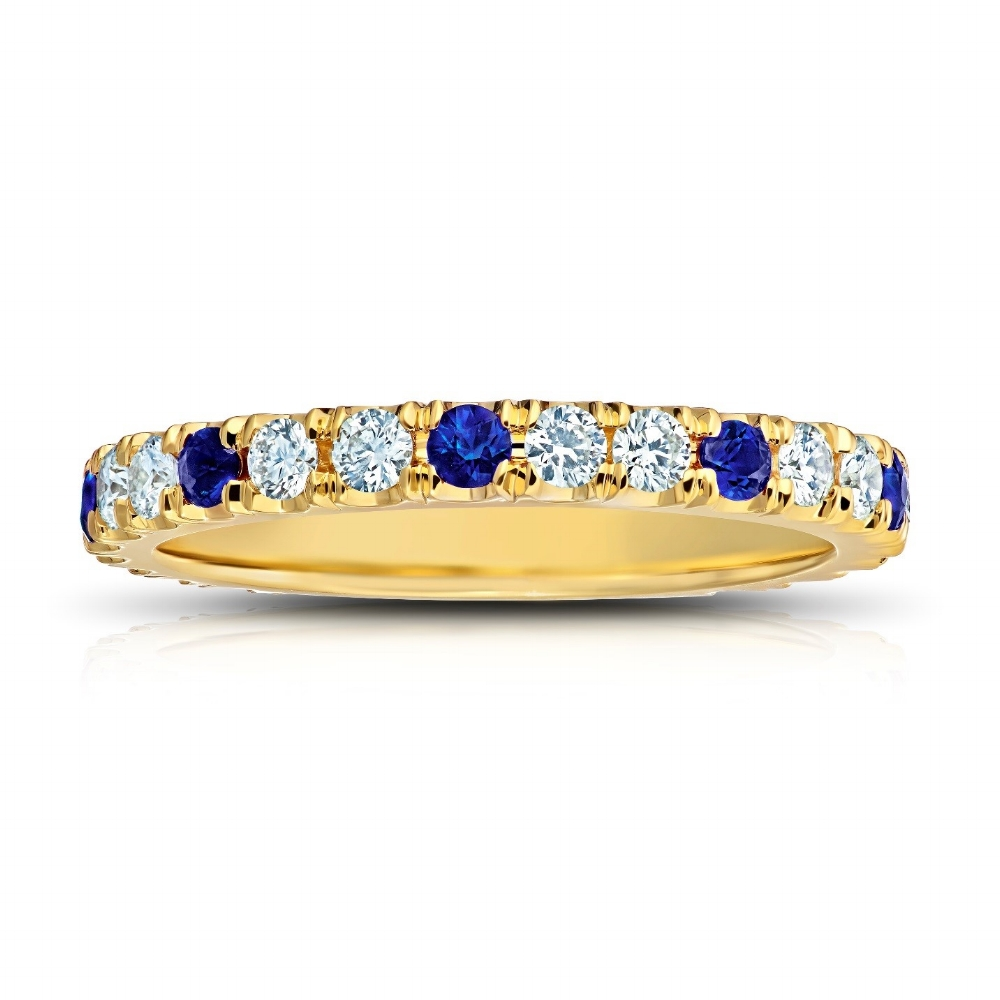 CEYLON SAPPHIRE AND DIAMOND ETERNITY BAND CRAFTED IN 18K YELLOW GOLD,  0.98 CTW