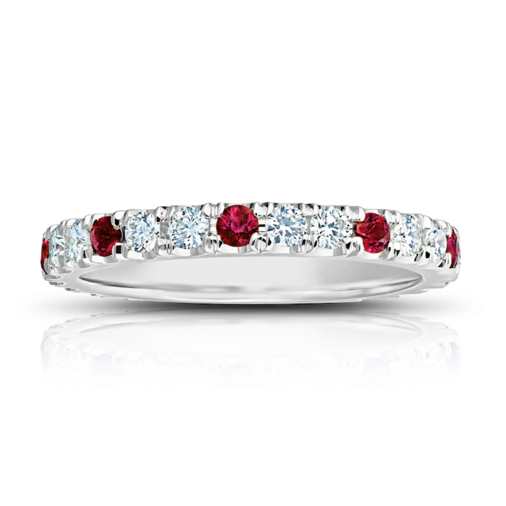 RUBY AND DIAMOND ETERNITY BAND CRAFTED IN 18K WHITE GOLD,  0.98 CTW