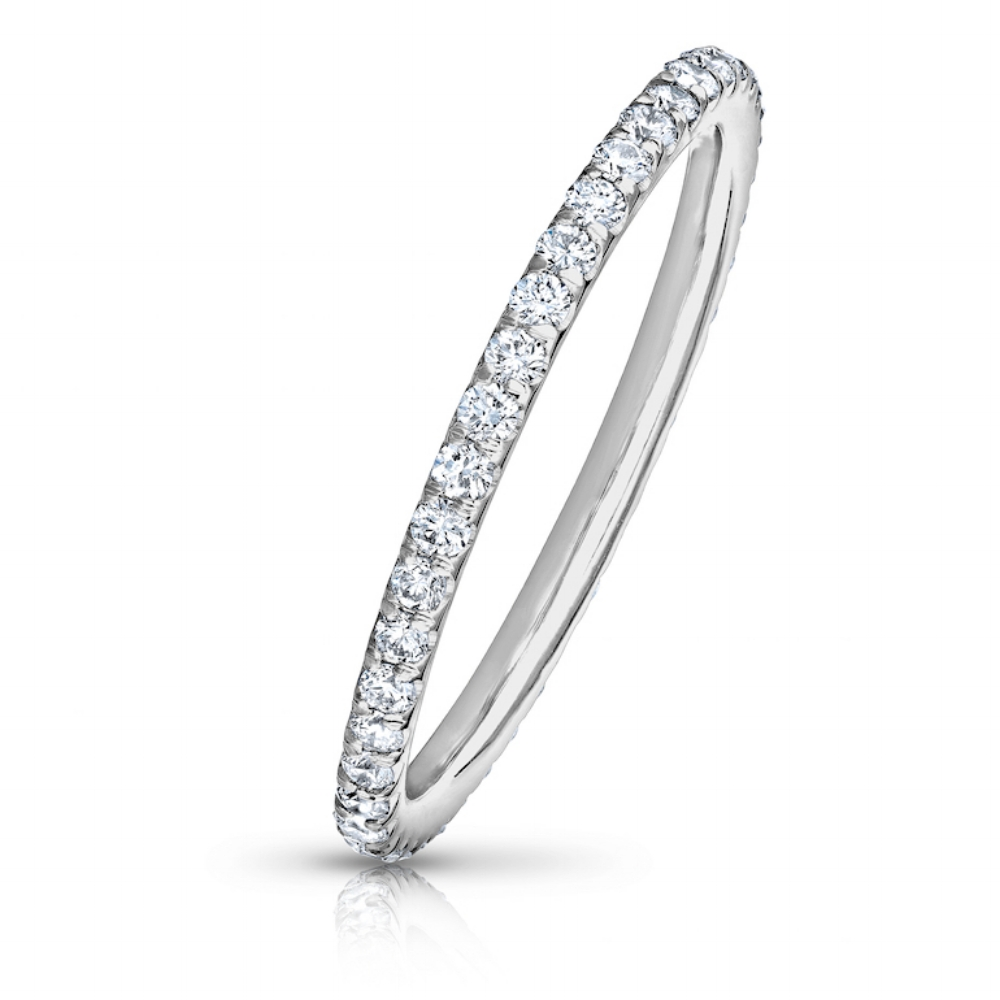 COLORLESS DIAMOND ETERNITY BAND WITH MODERN CUT DOWN PAVE  CRAFTED IN 18K WHITE GOLD, 1.50 CTW