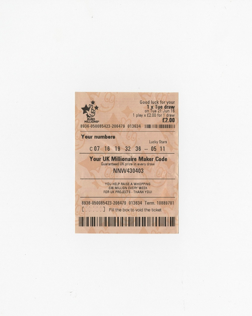The last Euro Millions lottery before the referendum, 2016