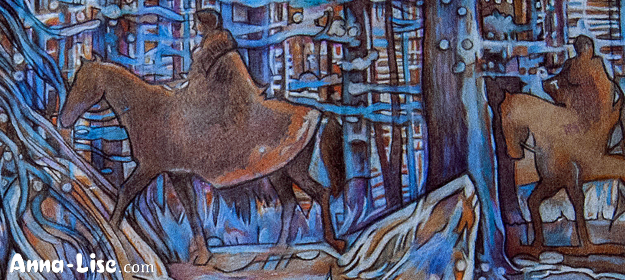 Detail of horses in the background
