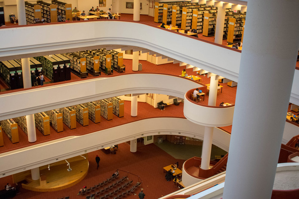 - Connect & Sync; Hands & Hearts was designed specifically for the Toronto Reference Library atrium space and is interactive in a number of ways.