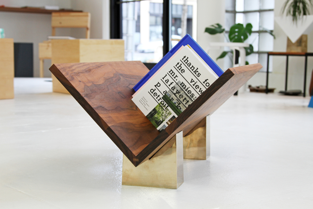 Pentabase Bookrest by Joe Magliaro for TOC Studio. Bronze and Oregon walnut, 2011.