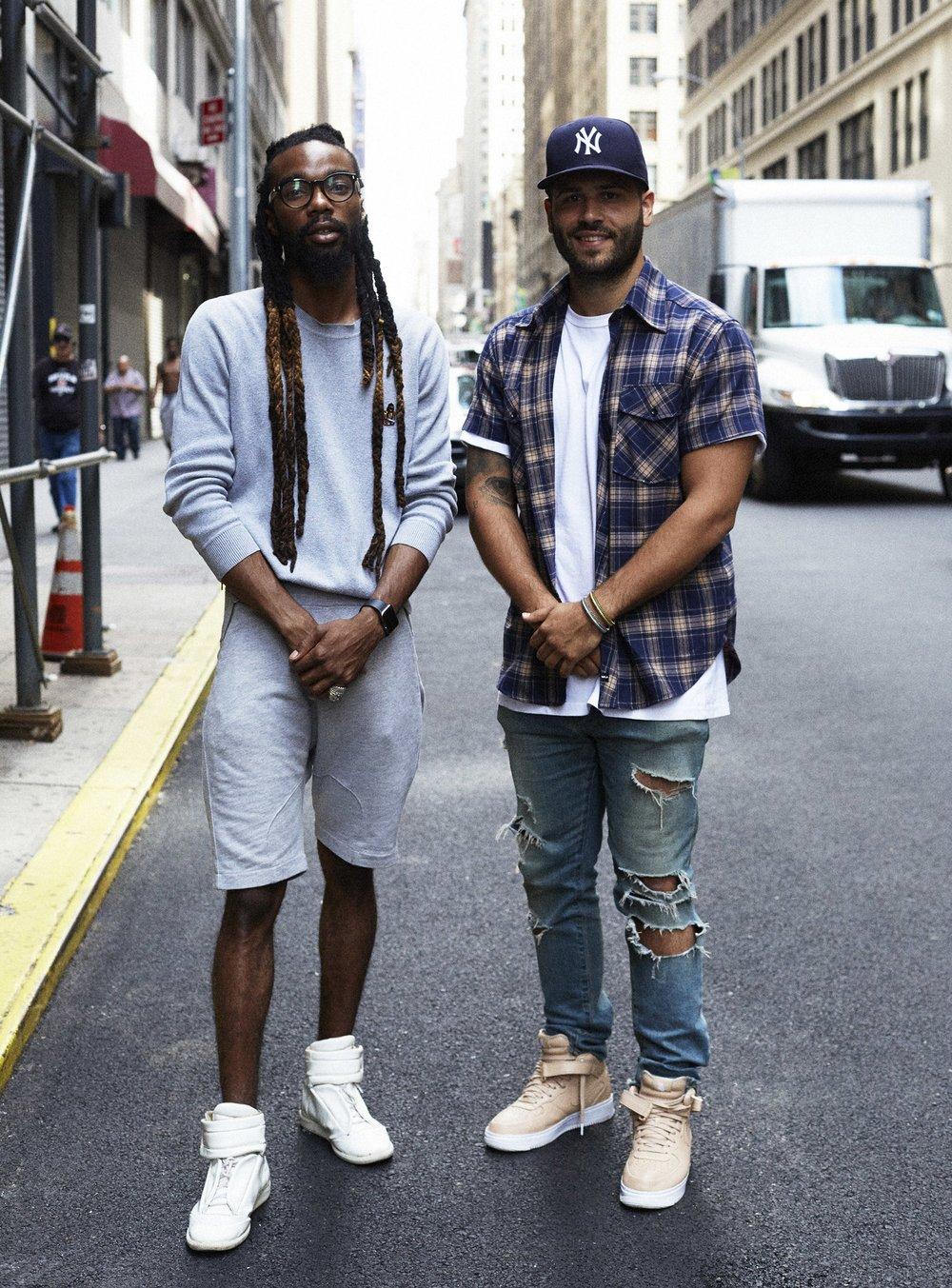 Yahdon and Jonathan outside of Mood Fabrics.