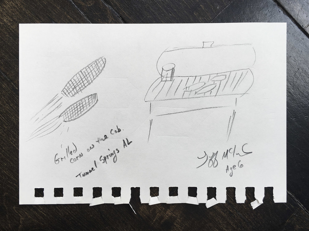 Jeff's sketch of his Grandma's buttery grilled corn