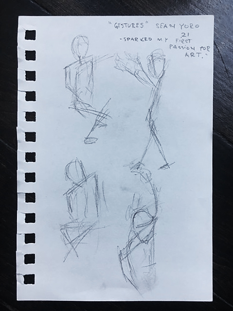 Sketch of Sean's first make - gestural drawings.