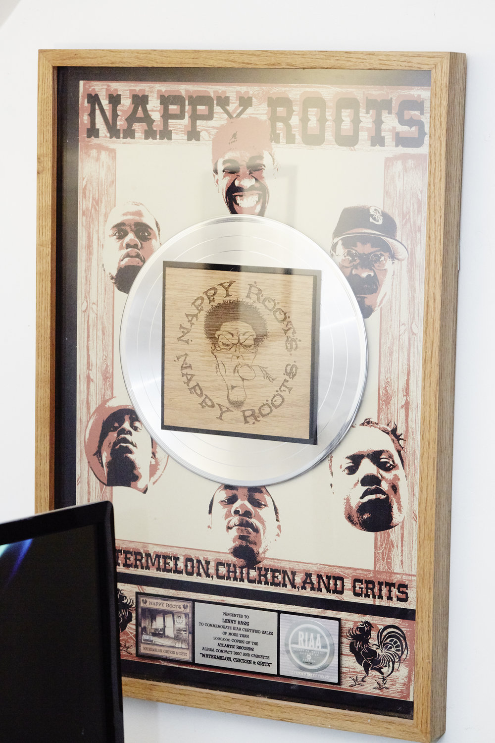 Lenny's Platinum Plaque for Nappy Roots' Watermelon, Chicken and Grits