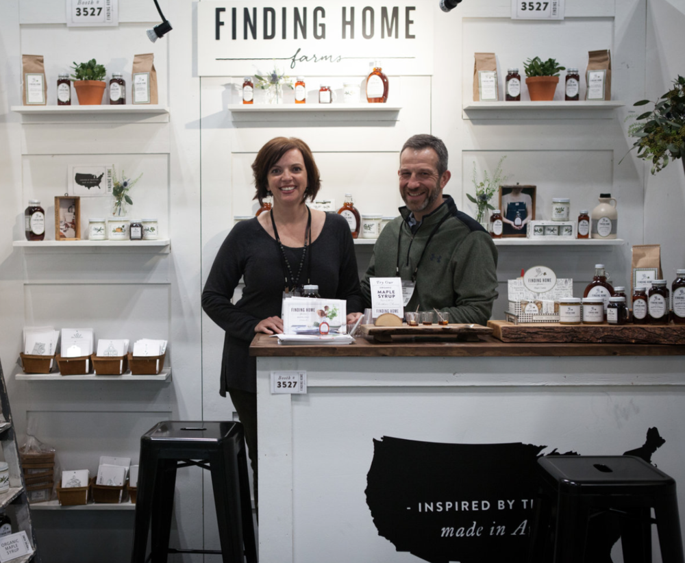 Left to right: Bieke van Orten, Frank Abbenhuis and Daniëlle Siobhán Mol at their Witloft booth at NY NOW.Laura and Dana at their Finding Home Farms booth at NY NOW.