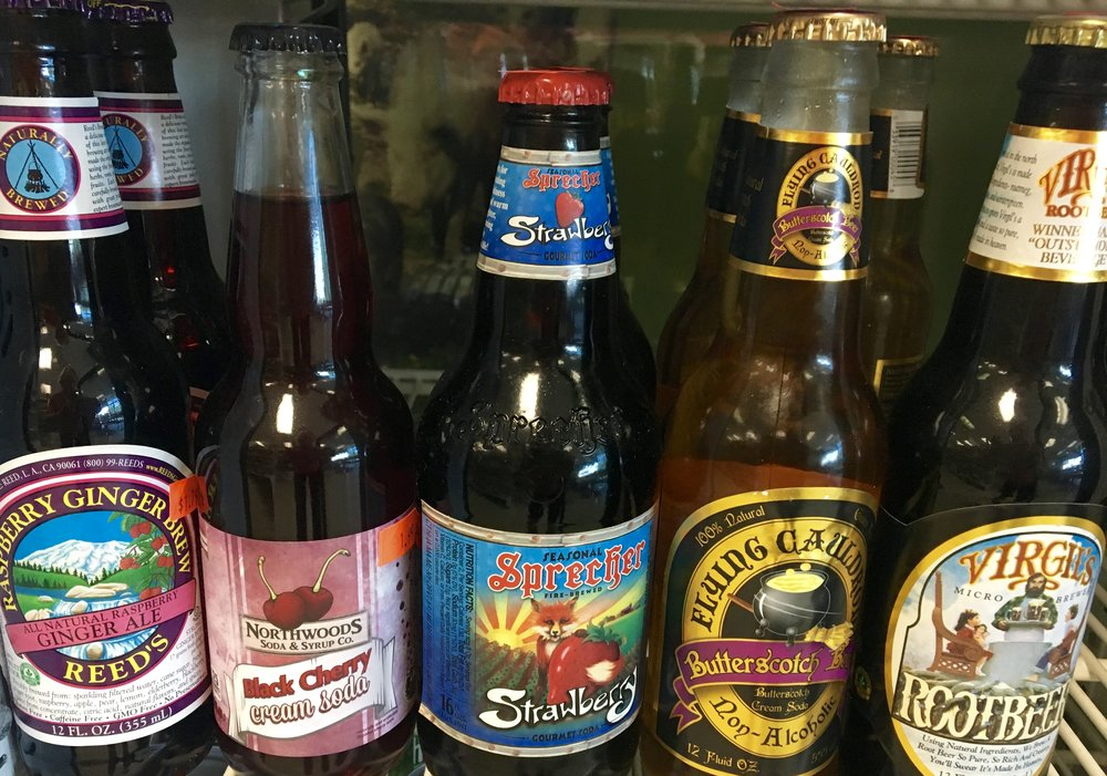 a variety of micro-brew sodas with all natural ingredients (no corn syrup)