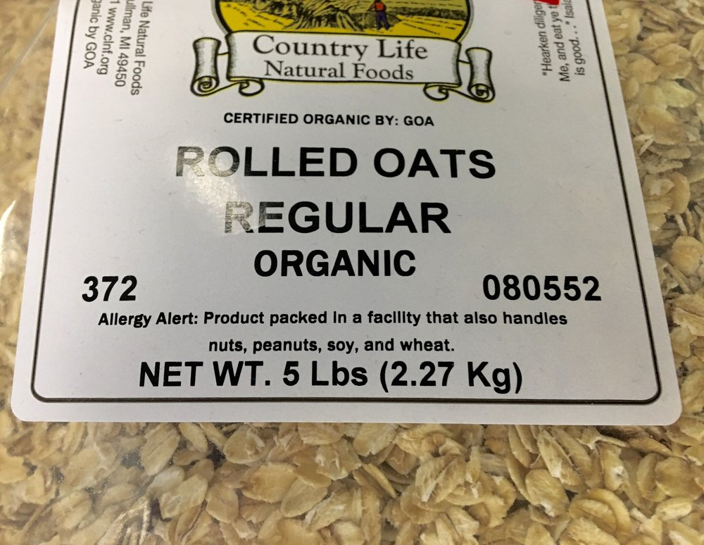 organic oats, quick, regular, groats, thick