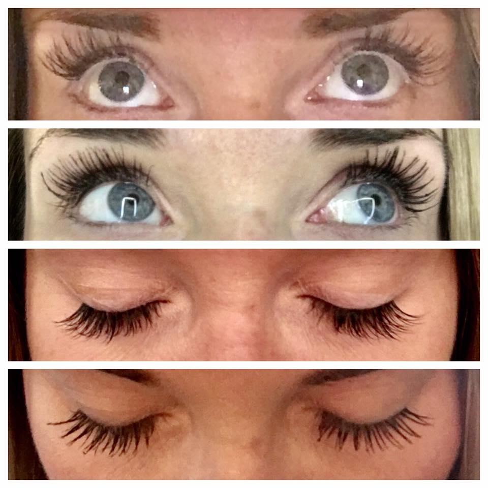 My friend Katrina's personal results: Top two photos are synthetic eyelash extensions. Bottom two photos are natural lashes using Lash Boost over 8 week period.