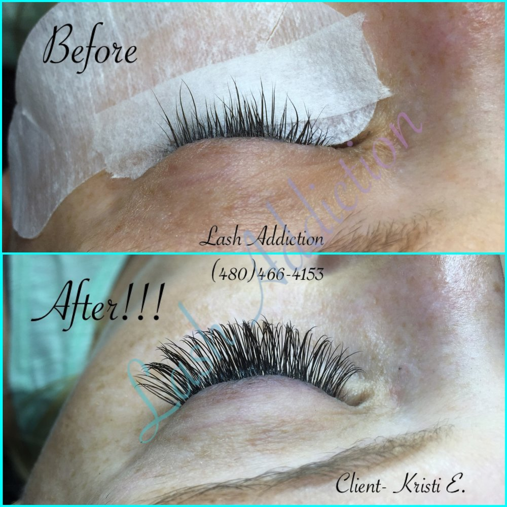 My personal results with eyelash extensions. Photo courtesy of Lash Addiction LLC.*