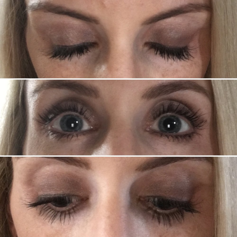 My own personal results with Lash Boost. All three pictures are my natural lashes with one coat of mascara.