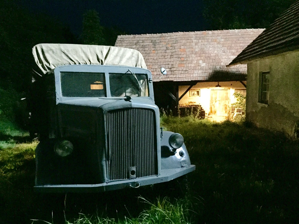 another old farm by night and our Opel Blitz
