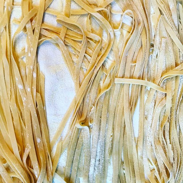 fresh fettuccine before it gets ready for a little whirlpool and then a dip in the sauce