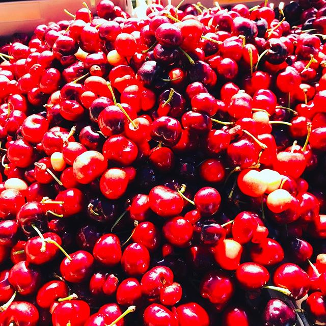 Cherries are in the air! Early start in the local farmers market. #foodies