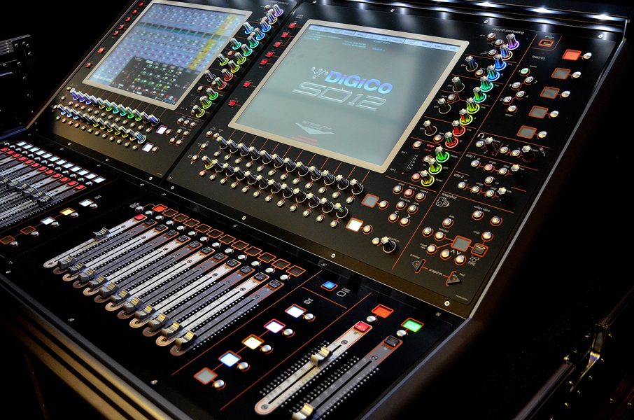 MIXING DESKS: DigiCo, Midas, Soundcraft.
