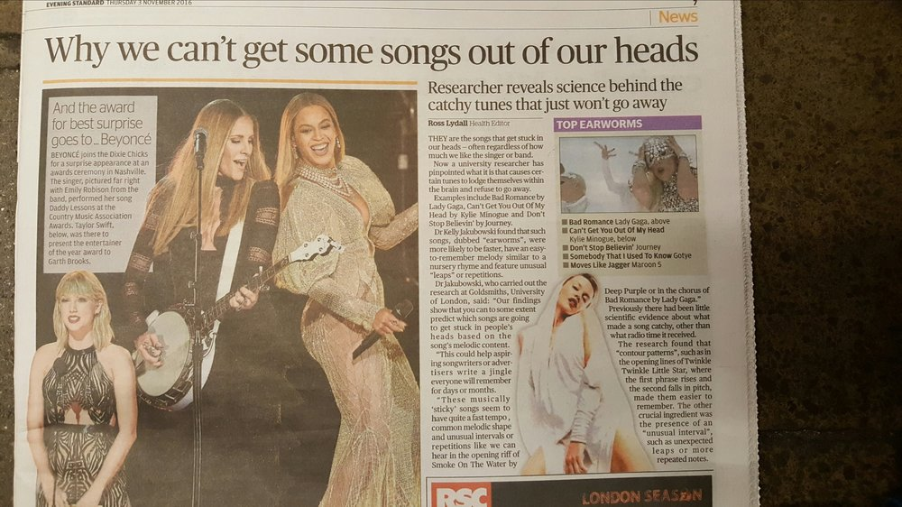 Earworms in the Evening Standard