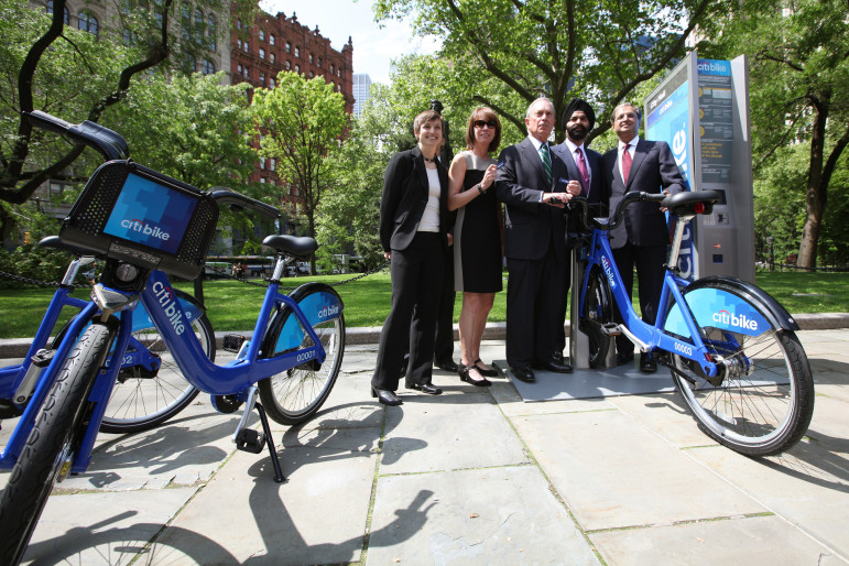 Mayor Bloomberg at an early Citi Bike promotional event. The question facing policymakers is whether investing in Citi Bike would have costs and benefits that make it favorable to pumping more money into existing transit offerings. ( Ed Reed/City Hall)