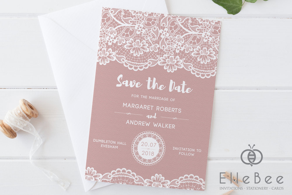 This Save The Date option is shown in a beautifully subtle Carnation pink, with white used throughout for a very understated look.