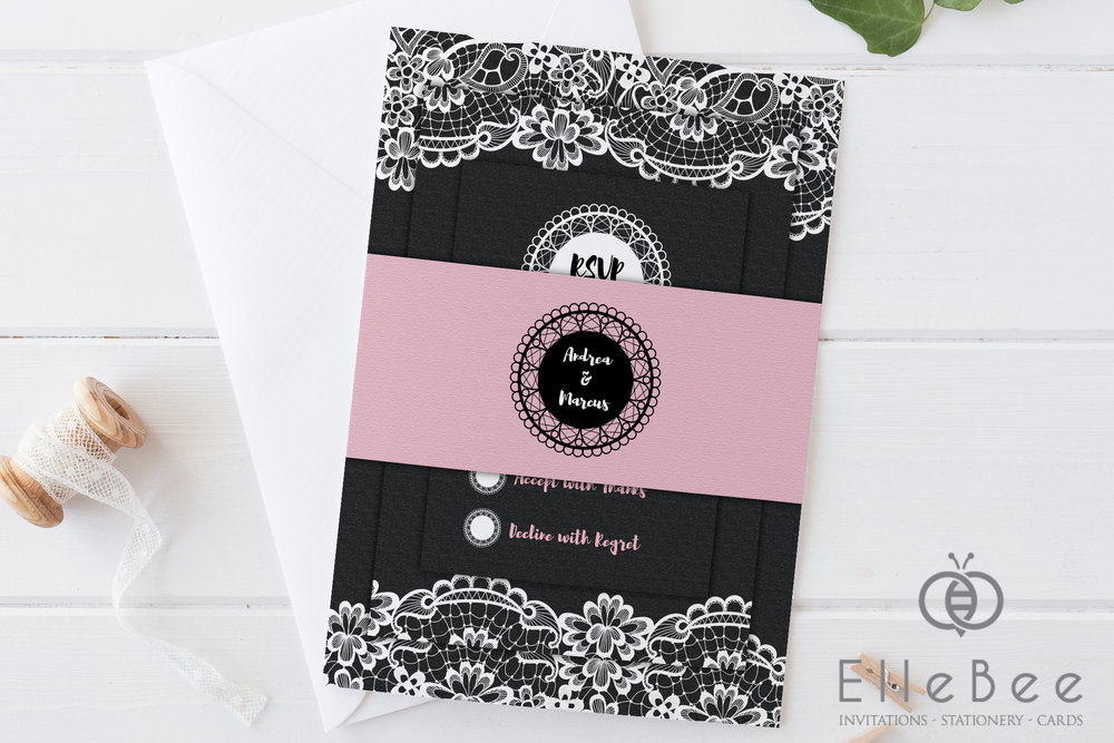 This full invitation suite - comprising invitation card, RSVP, info card and belly band - is a more dramatic and contrasting scheme, combining black and pink.
