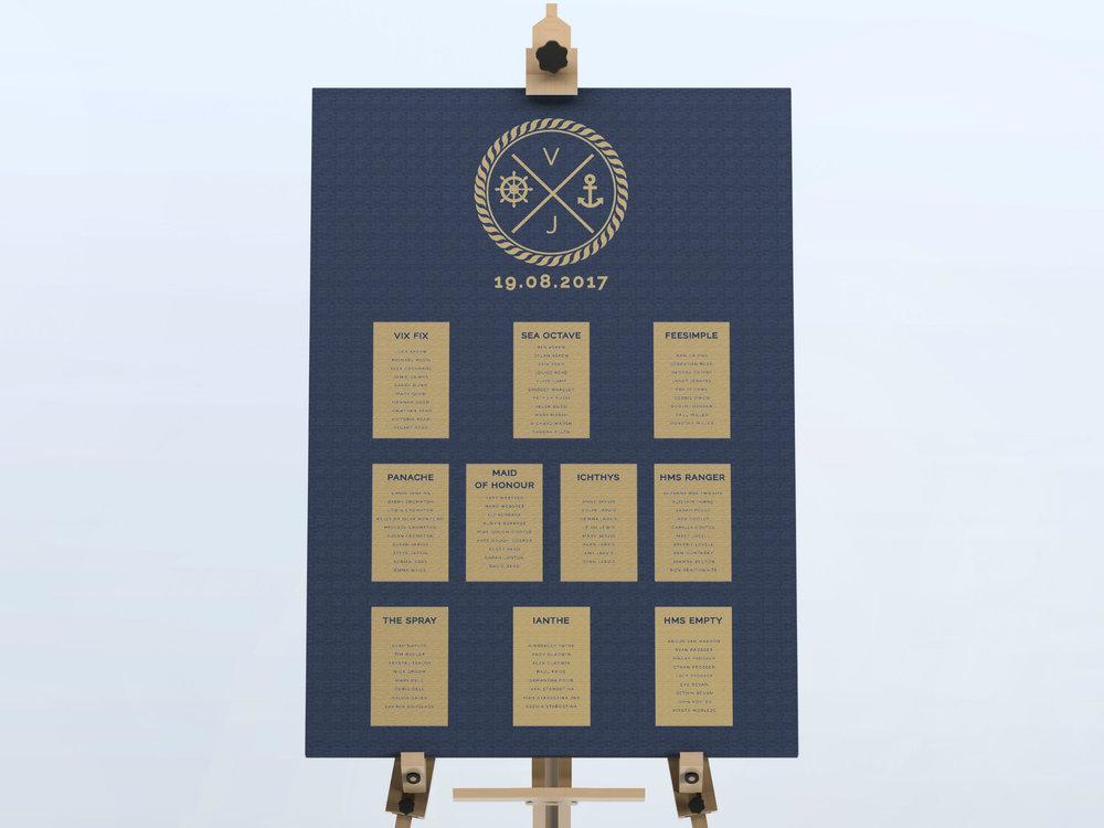 Canary Wharf - Nautical Wedding Table Plan
