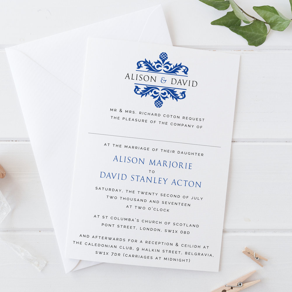 Green Park - Damask Wedding Invitation