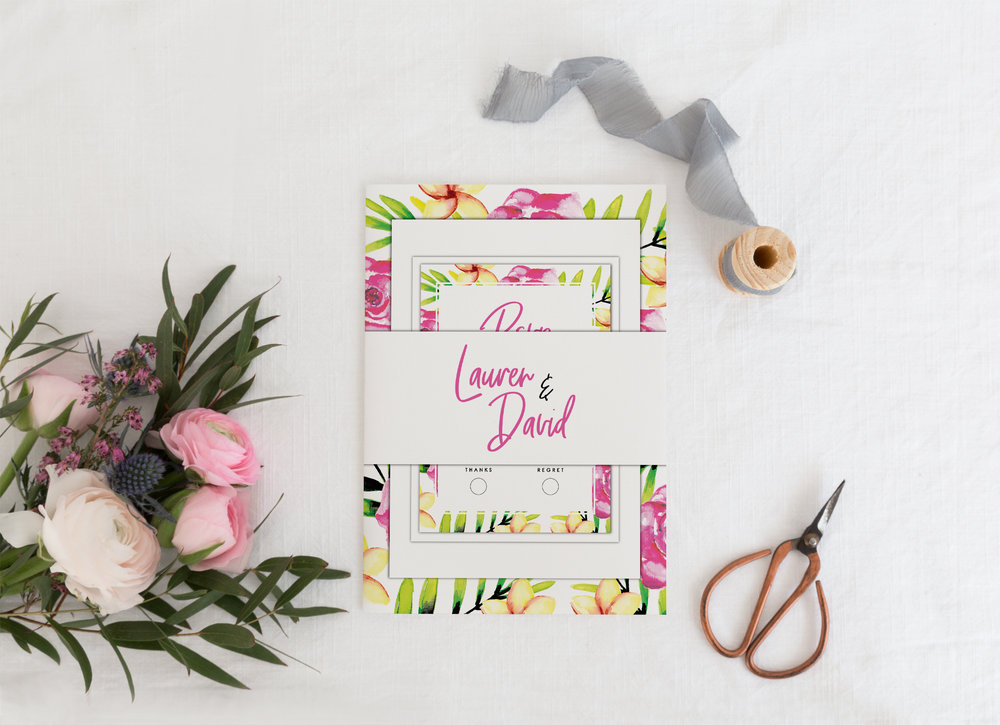 The full invitation package combines the invitation card, RSVP card, additional information card, all bound with a decorative paper belly band. Shown here with a white belly band, this contrasts beautifully against the colourful elements.