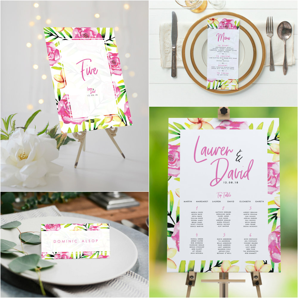 Chiswick makes a beautifully colourful statement on your wedding day itself, with (clockwise) our table numbers, menu cards, table plan and place cards all complimenting each other for a consistent theme on the day.