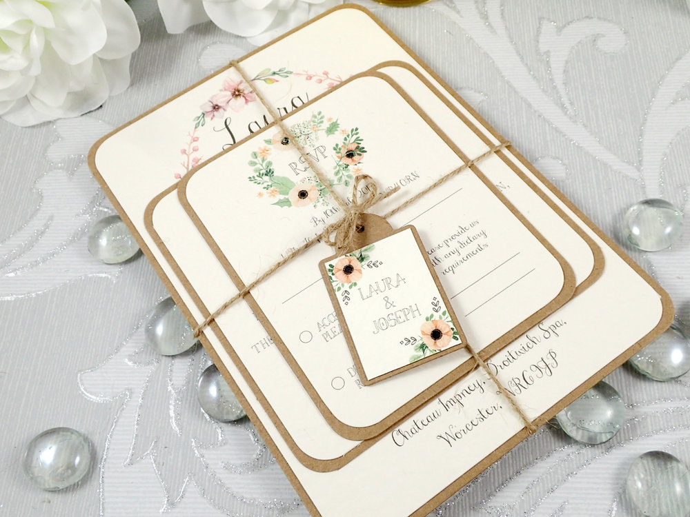 Metis - For those having a natural, BoHo-inspired wedding, our Metis collection is a wonderful accompaniment. Featuring rustic and vintage touches including natural twine and Kraft cardstock, Metis is an on-trend invitation and stationery design.