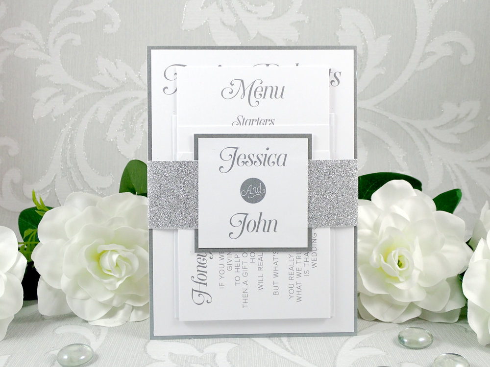 Nyx - One of our most popular collections, Nyx combines non-shed glitter paper and pearlescent cardstock for a cost-effective, versatile invitation and stationery choice.