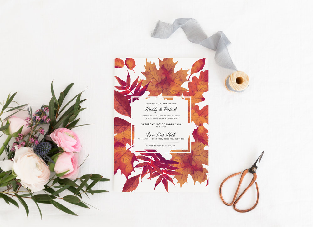 Burnt Oak - Our Burnt Oak collection is the perfect accompaniment to a wedding day in the autumn. Featuring flourishes of autumnal leaves, the design works beautifully for a modern autumn wedding.