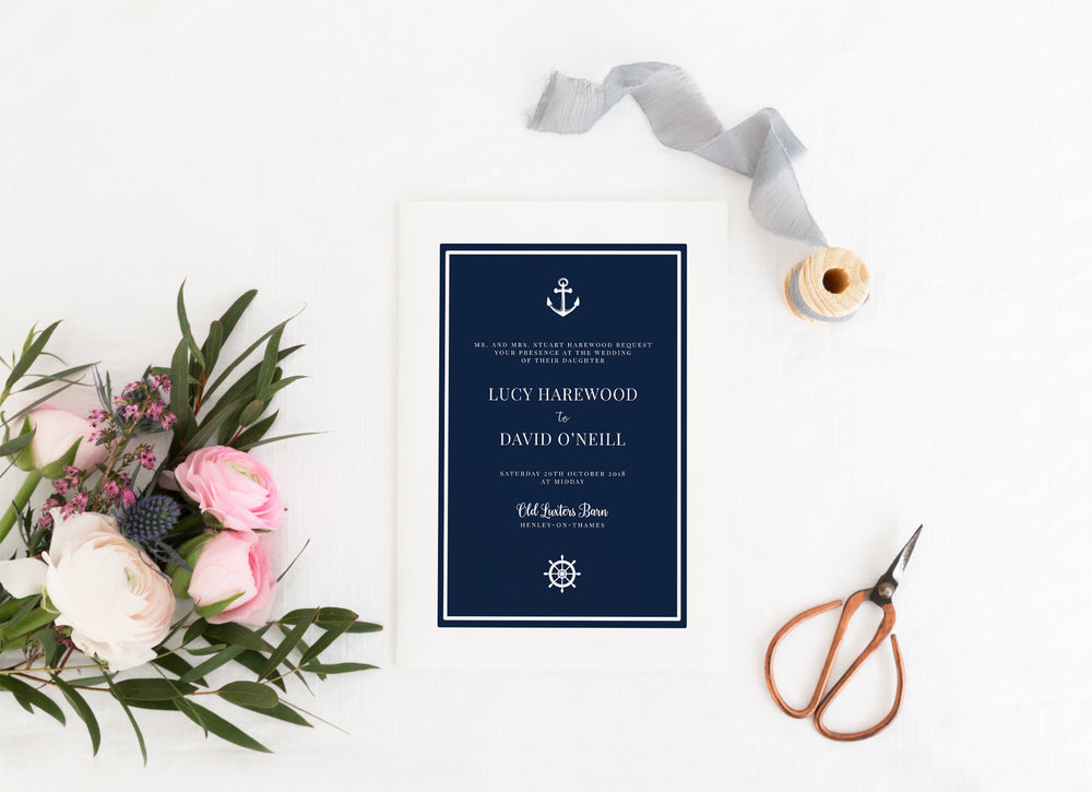 Canary Wharf - Our Canary Wharf collection is a modern take on the classical nautical style, featuring a navy and white colour scheme, classical typography and subtle naval imagery.