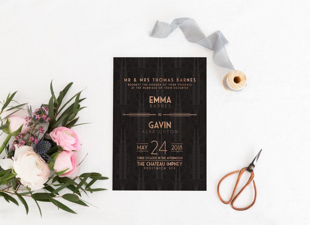 Earl's Court - Earl's Court is our take on the iconic Art Deco style. Featuring a black Art Deco background and foil-effect colouring for typography and detailing, this collection is the perfect partner to a glitzy, glamorous, Gatsby-inspired wedding.